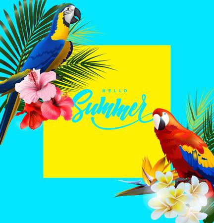 カラフルな熱帯オウムと熱帯の花と夏休みの背景。レタリングこんにちは夏のテンプレートベクトル。