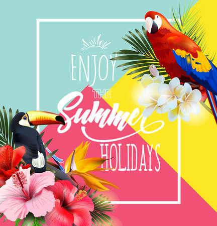 熱帯の花とカラフルな熱帯オウムベクトルイラストと夏休みのデザイン  イラスト・ベクター素材