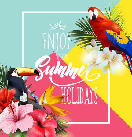 Summer holidays design with tropical flowers and colorful tropical parrots vector illustration Çizim