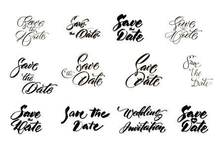 手描きのレタリング、アンパサンド、キャッチワードで日付コレクションを保存します。デザインの結婚式の招待状、写真のオーバーレイやカード