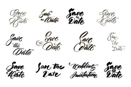 Save the date collection with hand drawn lettering, ampersands and catchwords. Vector set for design wedding invitations, photo overlays and cards Çizim