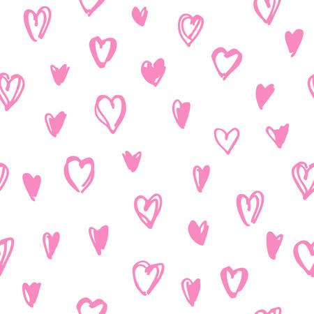 ハートシームレスパターン。包装紙のための手描きのロマンチックな装飾品。結婚式や女の子のための壁の書類への招待のためのカードやポスター