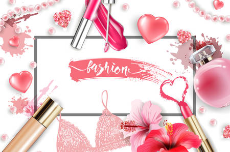 Cosmetics and fashion background with make up artist objects: lip gloss, perfume,pink pearl beads, sparkling hearts. Foundation, pink lipstick. Fashion and Valentines day Concept