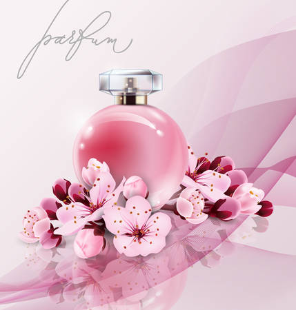 Sakura perfume ads, realistic style perfume in a glass bottle on pink background with sakura flowers. Great advertising poster for promoting a new fragrance Vector template. Çizim