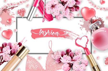 アーティストオブジェクトを構成する化粧品やファッションの背景:リップグロス、香水、ピンクの真珠ビーズ、輝く心。ファンデーション、ピンク