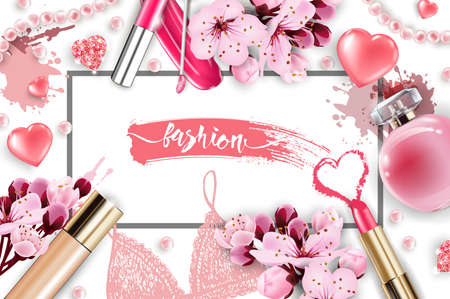 Cosmetics and fashion background with make up artist objects: lip gloss, perfume,pink pearl beads, sparkling hearts. Foundation, pink lipstick. with cherry flowers. Spring and Valentines day Concept. Çizim