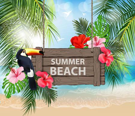 夏休みベクトルイラスト。ビーチ、美しいヨット、ヤシの木、美しいパノラマの海の景色、きれいな水の青い空。テンプレートベクトル。  イラスト・ベクター素材