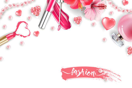Cosmetics and fashion background with make up artist objects: lip gloss, perfume,pink pearl beads, sparkling hearts., pink lipstick. Fashion and Valentines day Concept.