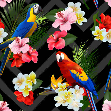 Seamless summer tropical background with tropical flowers and colorful parrots. Vector illustration. Çizim