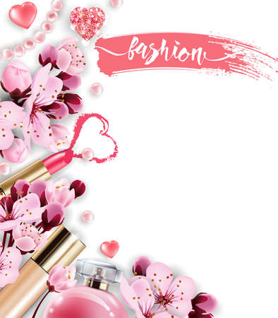 Cosmetics and fashion background with make up artist objects: perfume,pink pearl beads, sparkling hearts. Foundation, pink lipstick. with cherry flowers. Spring. fashion and Valentines day Concept Çizim