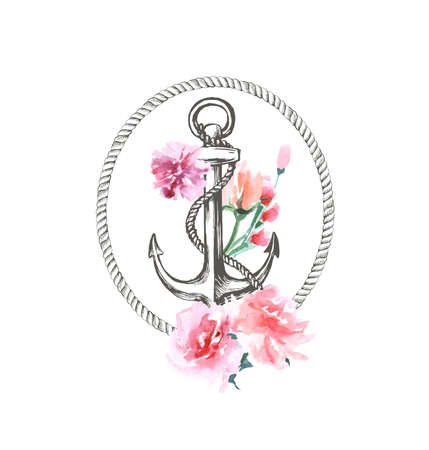 水彩画描き下ろし海、海洋、花のイラストアンカー、ロープと花の花束配置ベクトルテンプレート