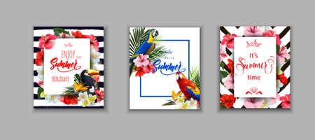 夏のカードのセットは、熱帯の花とトゥーカンとカラフルな熱帯オウムと夏の休日の背景をカバーしています。レタリング楽しむ夏休みテンプレー  イラスト・ベクター素材