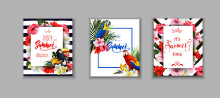 Set of summer cards, covers Summer holidays backgrounds with tropical flowersand a Toucan and colorful tropical parrots. Lettering Enjoy summer holidays Template Vector Çizim