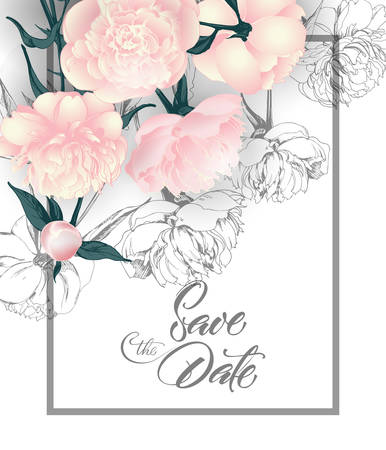 Save the date cards with peonies . Can be used for wedding invitation, birthday card, invitation card Vector template.