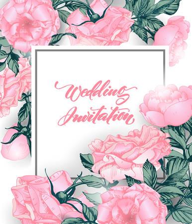 バラで日付カードを保存します。結婚式の招待状、誕生日カード、招待状ベクトルテンプレートに使用することができます。  イラスト・ベクター素材