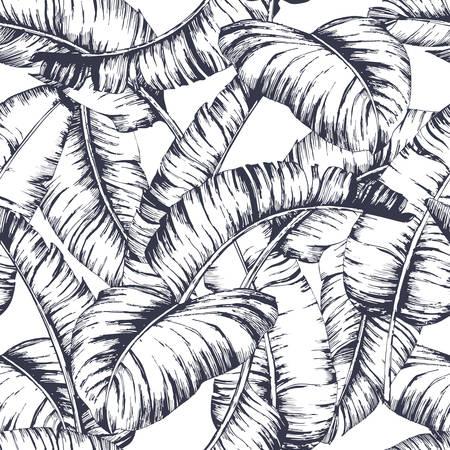 シームレスなバナナの葉のパターンは、ファッションテキスタイル、黒線植物ベクトルイラストレーション