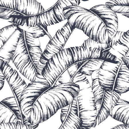 Seamless banana leaves pattern for fashion textile, black line plant vector illustration
