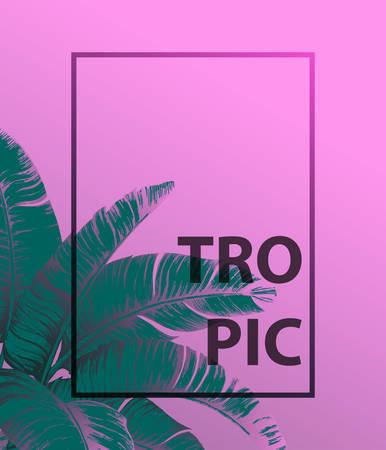 ピンクの背景にトロピカルヤシの葉。最小限の自然の夏のコンセプト。平らな横たわる。トレンディな夏の熱帯葉ベクトルデザイン。