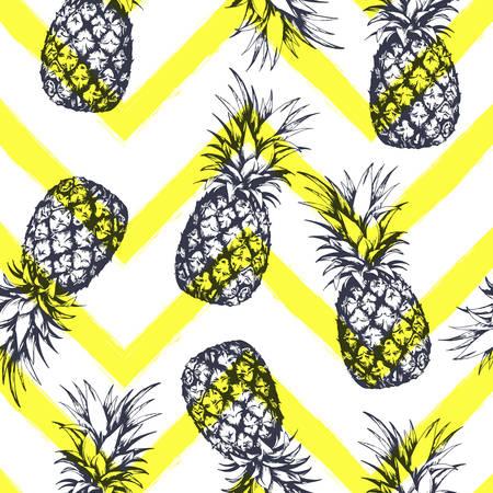 パイナップルとシームレスなパターン、グラフィックスタイルで描かれた手。ベクトルイラスト