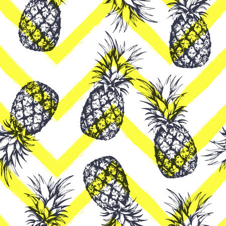 Seamless pattern with pineapples, hand drawn in graphic style. Vector illustration Çizim