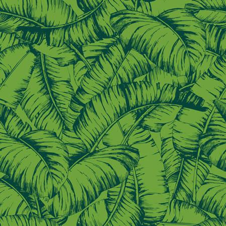 シームレスなバナナは、ファッションテキスタイル、黒線植物ベクトルイラストのためのパターンを残します。