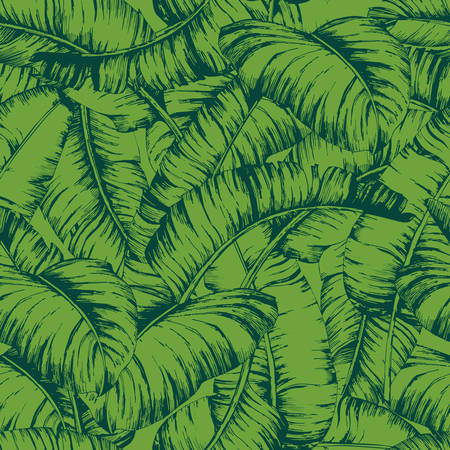 Seamless banana leaves pattern for fashion textile, black line plant vector illustration.