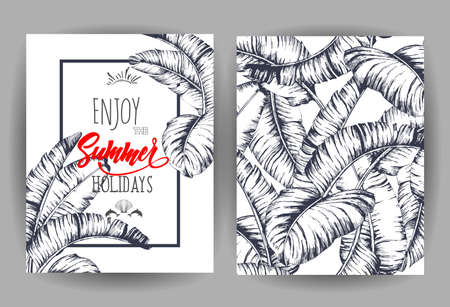 Tropical palm leaves background. Invitation or card design with jungle leaves. Vector illustration in trendy style