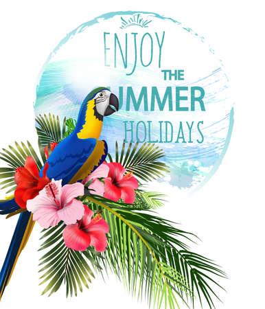 カラフルな熱帯オウムとトゥーカンと熱帯の花と夏休みの背景。レタリングこんにちは夏テンプレートベクトル