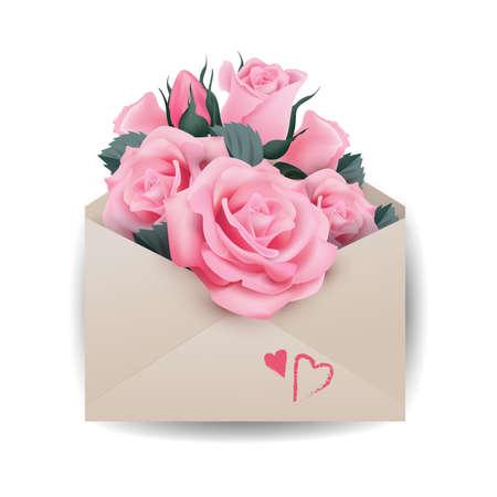 愛やバレンタインデーのコンセプト。封筒にピンクの美しいバラ テンプレートベクトル。