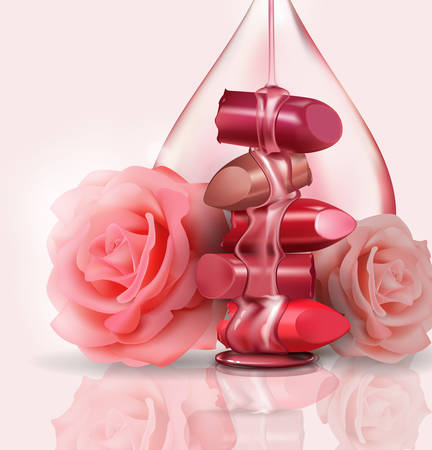 Female luxury. Broken lipstick and pink roses, with a drop of rose oil, honey for makeup on white background, template for a poster, banner, logo, leaflet, realistic mockup, vector illustration. Illustration