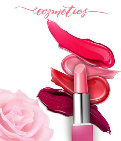 Lipstick closeup and smears lipstick on white background. Cosmetics commercial, beautiful style. Çizim