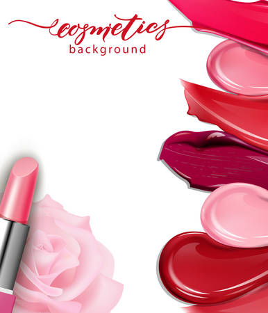 Lipstick closeup and smears lipstick on white background. Cosmetics commercial, beautiful style. Exquisite smear, glamorous magazine, beauty concept. Realistic mockup, vector illustration Çizim