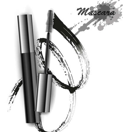 Mascara and brush stroke vector, beauty and cosmetic background. Vector illustration. Çizim