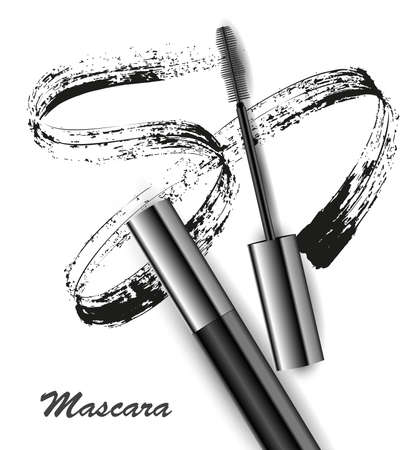 Mascara and brush stroke vector, beauty and cosmetic background. Vector illustration. Illustration