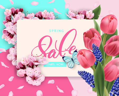 Spring sale vector banner design with flowers Cherry and frame. Spring sale with Cherry blossoms background