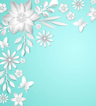 Frame with white paper flowers on blue background illustration.