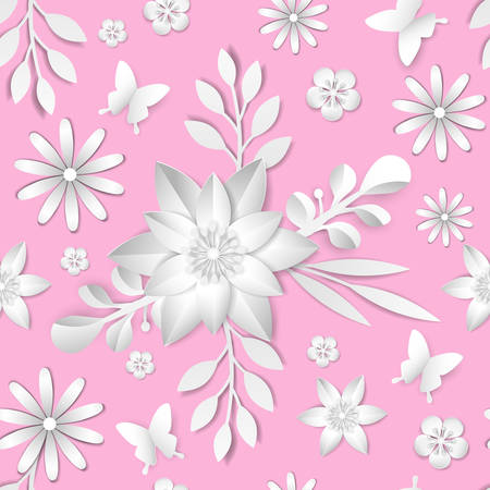 Vectorabstract flower seamless pattern element. Elegant texture for backgrounds. Paper cut. Çizim