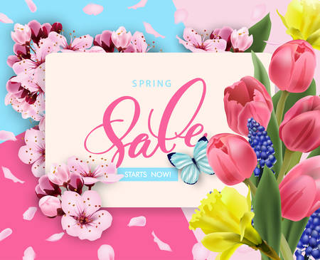 Spring sale vector banner design with flowers Cherry and frame. Spring sale with Cherry blossoms background. Vector illustration.