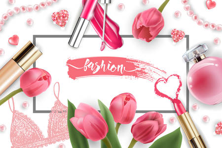 Cosmetics and fashion background with make up artist objects: lip gloss, perfume,pink pearl beads, sparkling hearts. Foundation, pink lipstick. with pink tulips Spring and Valentines day Concept
