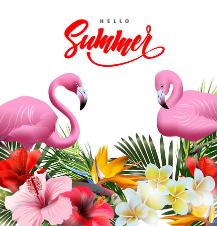 Summer holidays background with tropical flowers with pink flamingo. Lettering Hello summer Template Vector Çizim