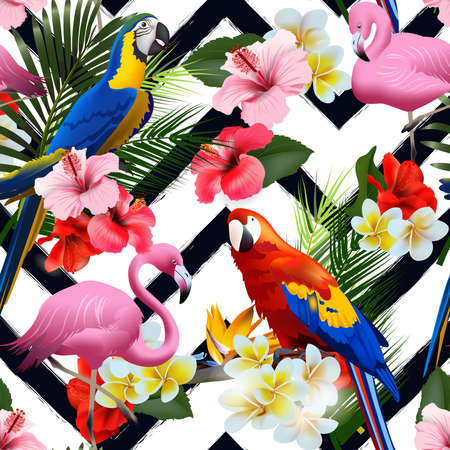 Seamless summer tropical background with tropical flowers and colorful parrots, with pink flamingo Vector illustration Çizim