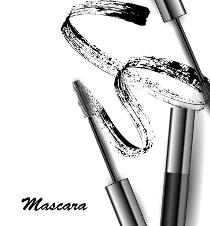 Mascara and brush stroke, beauty and cosmetic background.