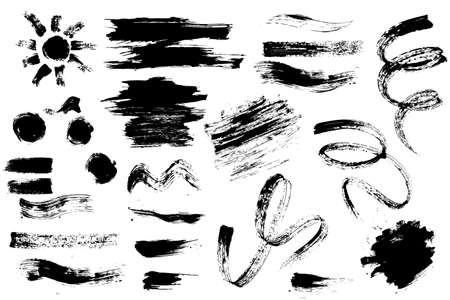 Set of hand drawn design elements. Collection of black paint, ink brush strokes.Mascara and brush stroke set vector Artistic creative shapes. Vector illustration Çizim