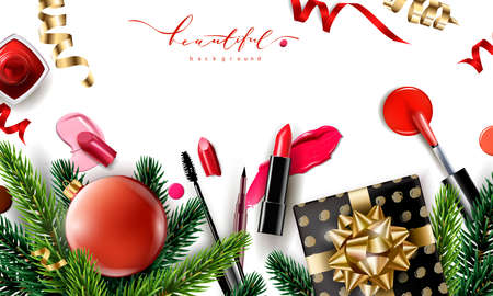Beauty and cosmetics background with Christmas tree branches, balloons, confetti, cosmetics. Use for advertising flyer, banner, leaflet. Christmas And New Year background. Template Vector