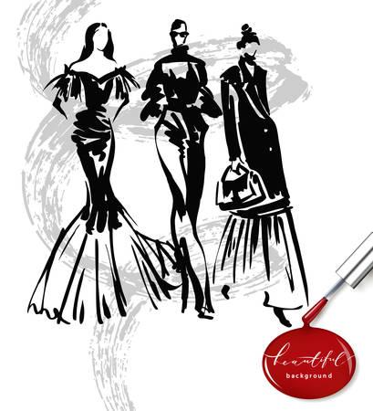 Fashion models sketch hand drawn , stylized silhouettes isolated.Vector fashion illustration set. Ilustracja