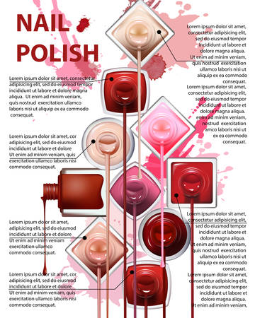 Nail Polish with drops and lipstick on white background. Perfect for advertising banners, booklet, magazines. Vector template. Ilustracja