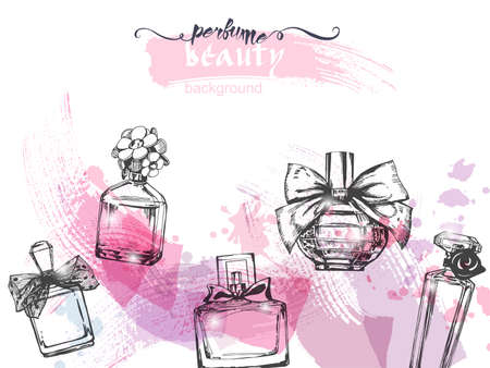 A set of beautiful bottles of perfume. Womens perfume. Vector watercolor. Elements for design.Template Vector.