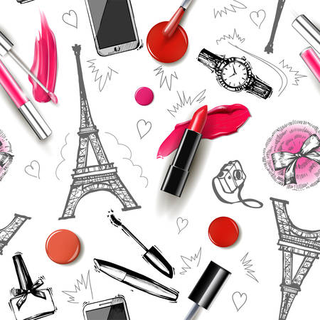 Seamless fashion and cosmetics background with make up artist objects: ladies watch, handbag nail Polish,mascara, lipstick, perfume, hand drawn Eiffel tower, camera. Vector illustration