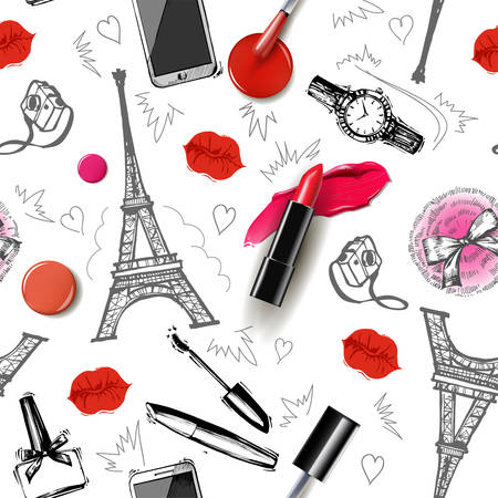 Seamless fashion and cosmetics background with make up artist objects: ladies watch, handbag nail Polish,mascara, lipstick, perfume, hand drawn Eiffel tower, camera with kisses . Vector illustration