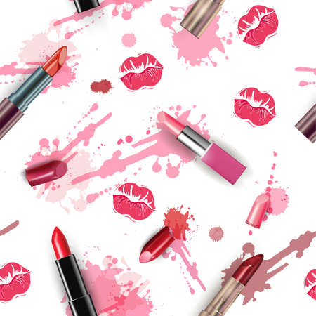 Seamless fashion and cosmetics background with make up artist objects: red lipstick, broken red lipstick, smears of lipstick with kisses. Vector illustration Vectores